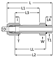 SAE Flareless Long Straight Thread Connector