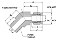 Tube fitting 45° elbow